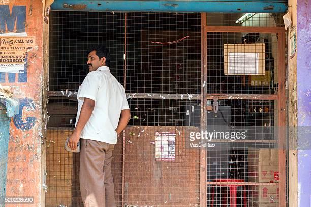Customer buys liquor in Hosur, Tamil Nadu, India