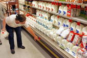 A customer checks the price of gallons of milk sitting on a cooler shelf at a Safeway grocery store August 20 2007 in Washington DC The US Labor...