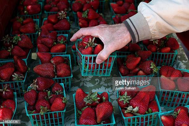 A customer chooses a basket of strawberries at a farmers market on June 13 2012 in San Francisco California The US Senate has started to debate the...