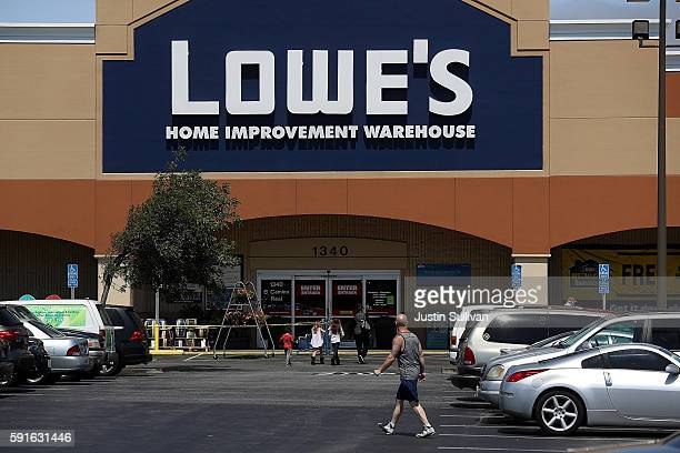 A customer enters a Lowes home improvement store on August 17 2016 in San Bruno California Lowes second quarter profits fell short of expectations...