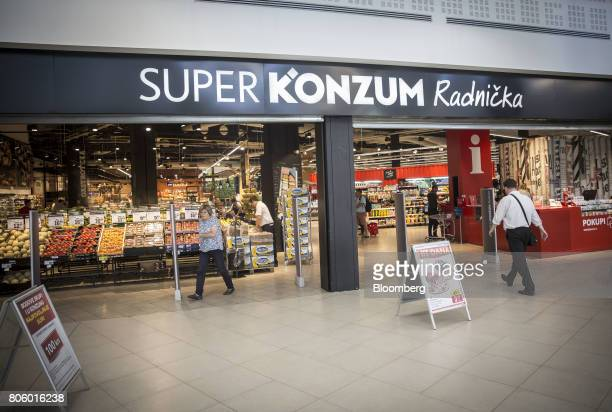 A customer enters a Super Konzum supermarket operated by Agrokor dd in Zagreb Croatia on Tuesday June 13 2017 Croatian retailer Agrokor secured a new...