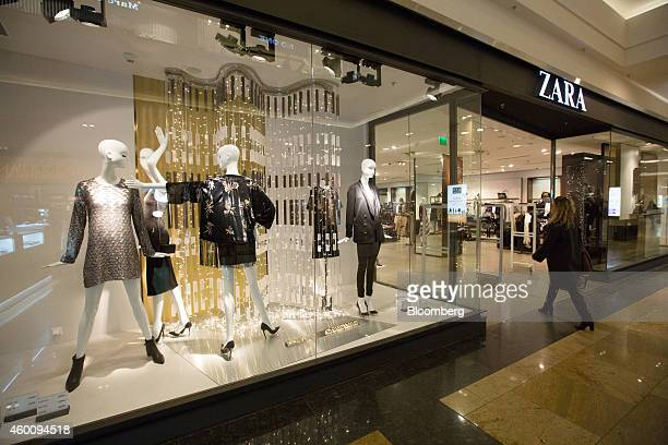 A customer enters a Zara fashion store operated by Inditex SA in the Afimall shopping mall during the festive retail period in Moscow Russia on...