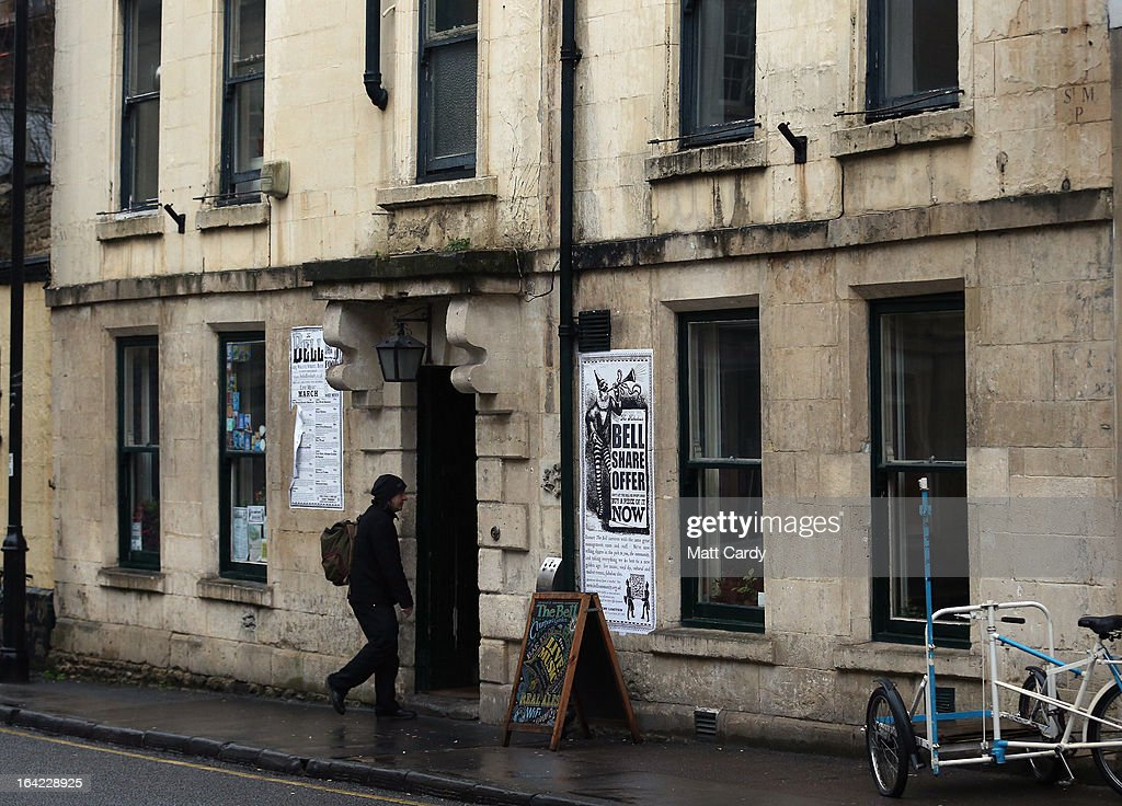 A customer enters the Bell Inn in Walcot Street on March 21, 2013 in Bath, England. Customers of the popular music venue have raised 720,000 GBP to buy the pub from its current owner in a campaign to save it, which has been backed by rock stars including Robert Plant and Peter Gabriel. When the pub was put up for sale, customers launched a buyout with shares priced from 500 GBP to 20,000 GBP to initially raise 500,000 GBP with a loan to cover the shortfall in the asking price of 925,000 GBP.