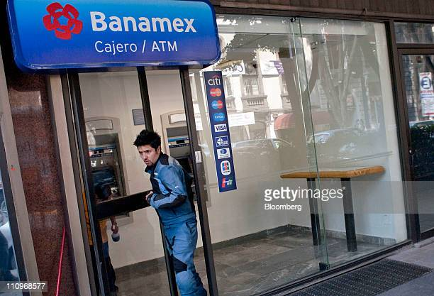 A customer exits a Citigroup Inc Banamex bank branch in Mexico City Mexico on Monday March 28 2011 The pension fund at Citigroup Inc's Banamex unit...