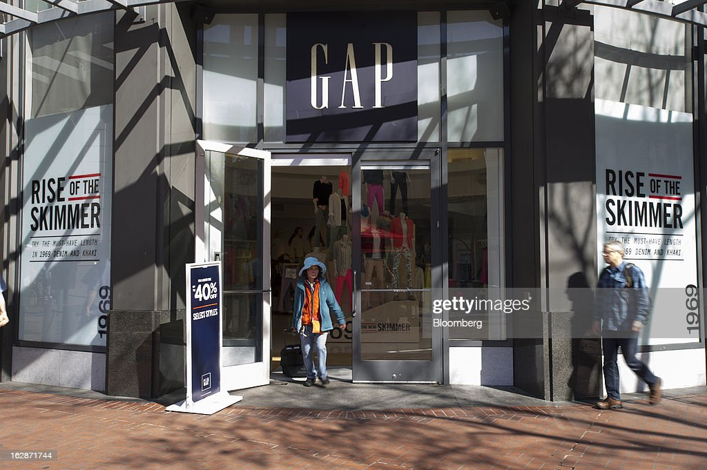 A customer exits a Gap Inc. store in San Francisco, California, U.S., on Thursday, Feb. 28, 2013. Gap Inc., the biggest U.S. specialty-apparel retailer, rose after posting fourth-quarter profit that topped analysts' estimates, fueled by its best holiday shopping season in six years. Photographer: David Paul Morris/Bloomberg via Getty Images