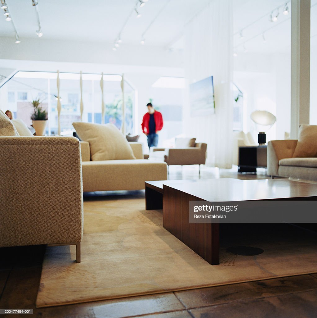 Customer in furniture shop (soft focus) : Stock Photo
