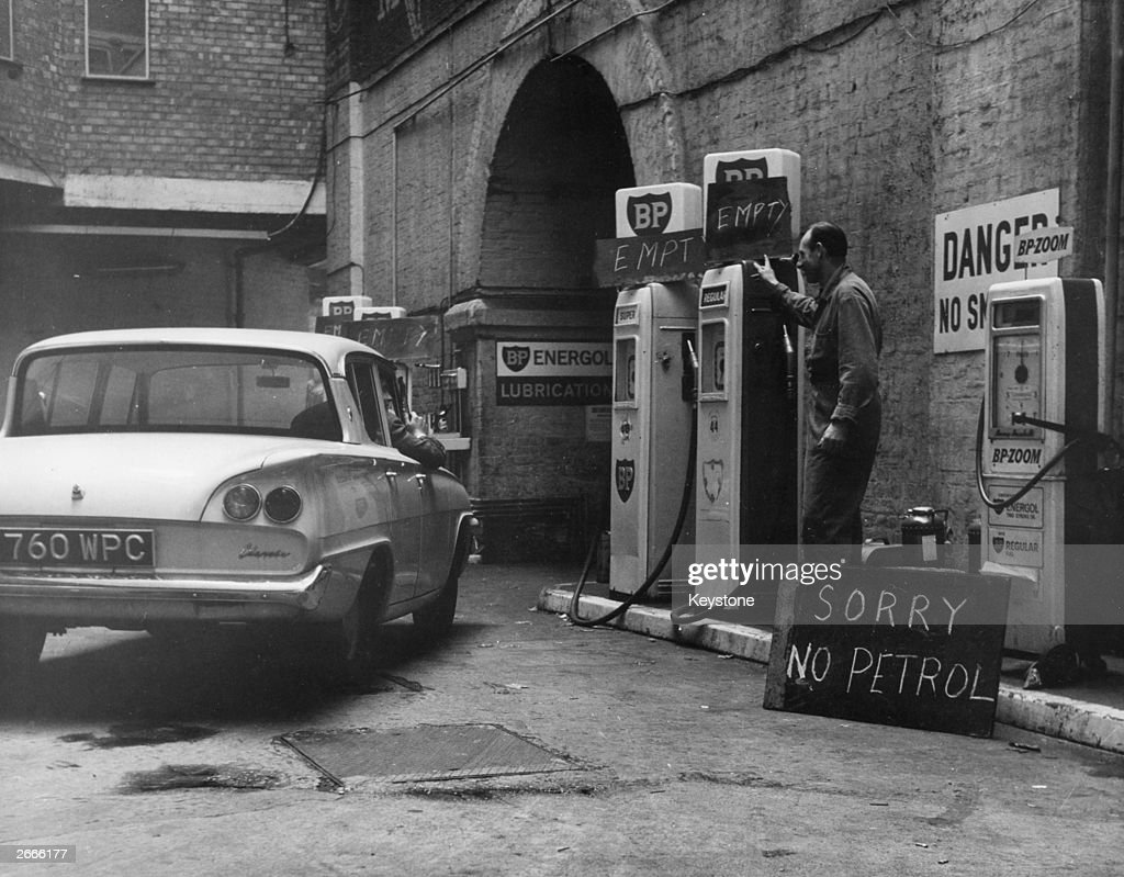 A customer is turned away from the Charing Cross Garage in London as petrol is rationed following the tanker drivers strike.