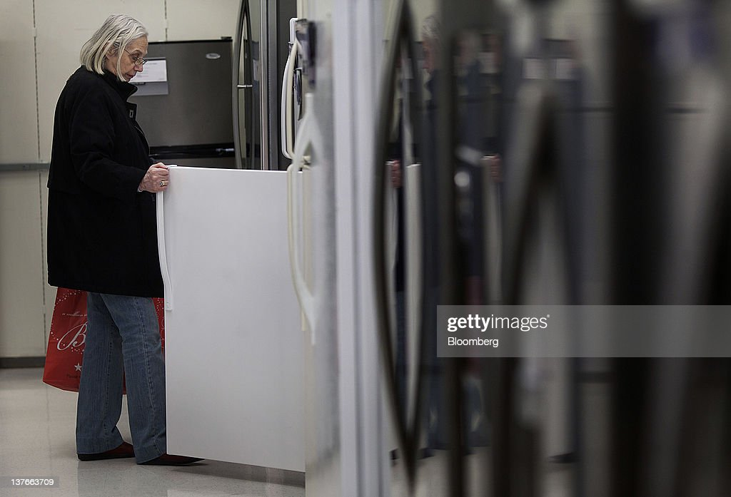 A customer looks at refrigerators at a Sears Holdings Corp. store in Jersey City, New Jersey, U.S., on Tuesday, Jan. 24, 2012. The U.S Census Bureau is scheduled to release durable goods data on Jan. 26. Photographer: Victor J. Blue/Bloomberg via Getty Images
