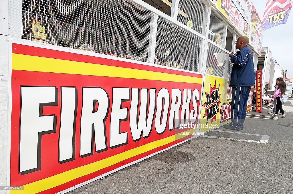 A customer purchases fireworks at the Camp St. Andrews fireworks stand on July 3, 2014 in San Bruno, California. As California's historic drought continues and fire danger is at severe levels, fire departments in the greater San Francisco Bay Area are on heightened alert as vendors in select cities in Santa Clara, San Mateo and Alameda counties sell fireworks ahead of the Fourth of July holiday.