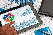 Customer Relationship Management business chart on digital table