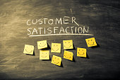 """Yellow sticky notes on black board below """"Customer satisfaction"""" word. The notes have smiles drawn with a black color marker to represent the happy clients"""