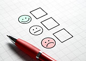 Customer satisfaction survey and questionnaire concept. Giving feedback with multiple choice form. Pen, paper and emotion smiley face icons.