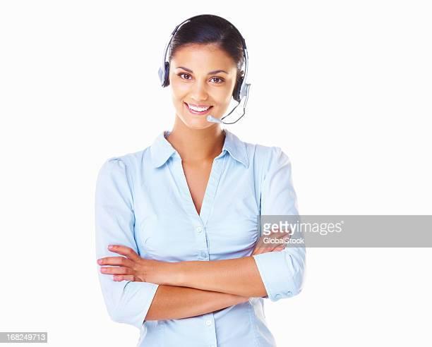 A customer service operative wearing a white headset