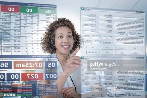 Customer service operator using interactive screen