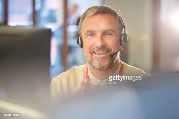 customer service representative looking to camera