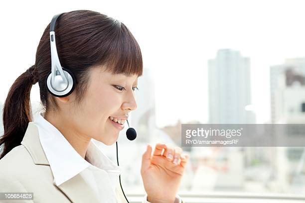 Customer Service Representative with headset