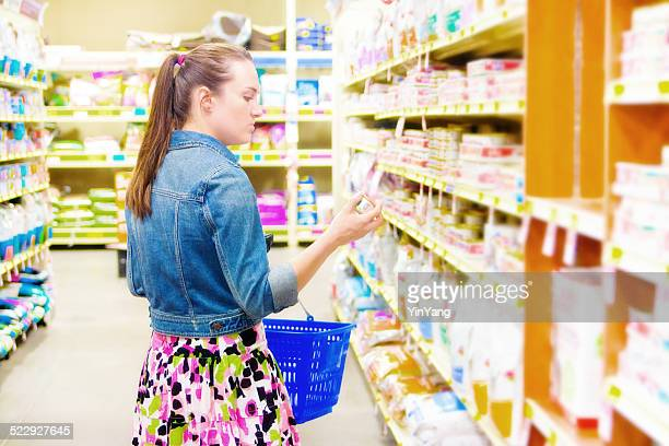 Customer Shopping in Supermarket Store for Home Domestic Supply