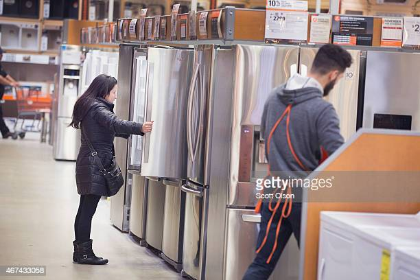A customer shops for appliances at a Home Depot store on March 24 2015 in Chicago Illinois The Labor Department reported the consumerprice index rose...