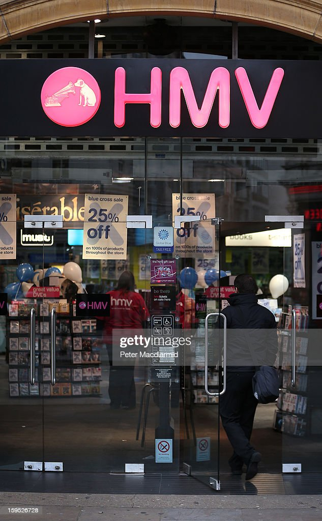 A customer walks into the HMV music and video shop in Piccadilly on January 15, 2013 in London, England. Management have announced that administrators have been called in which may put the 4350 staff at risk. HMV was founded in 1921 has 239 stores in the UK and the Republic of Ireland and has struggled to compete against online retailers.