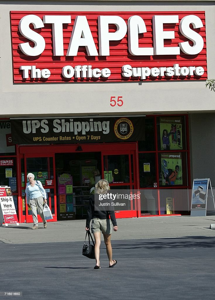 A customer walks out of a Staples office supply store August 15 2006 in Novato California Staples Inc reported a 19 percent increase in secondquarter...
