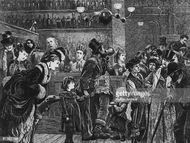 Customers and staff in a London pub circa 1870