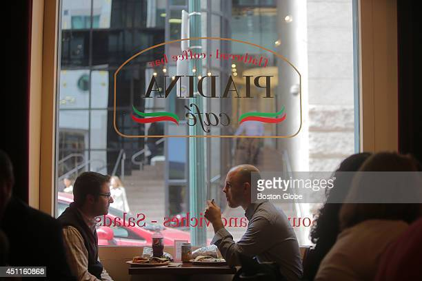 Customers Andrew Thompson left and Matt Meade enjoy lunch at Piadina Cafe Coffee Bar in the Financial District a newly opened cafe for breakfast and...