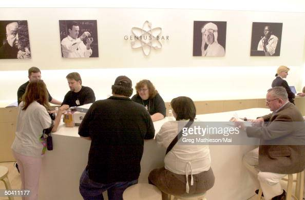 Customers at Apple retail store which Apple opened to provide direct sales to consumers of Apple and associated products