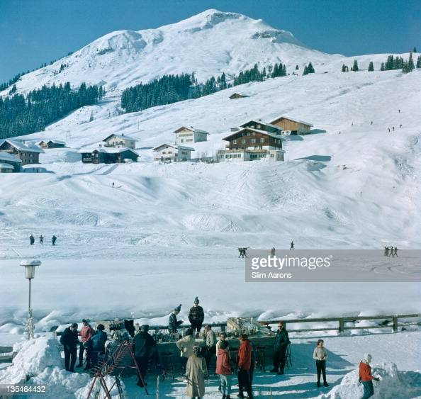 Customers at the Ice Bar at the Hotel Krone in Lech Austria 1960