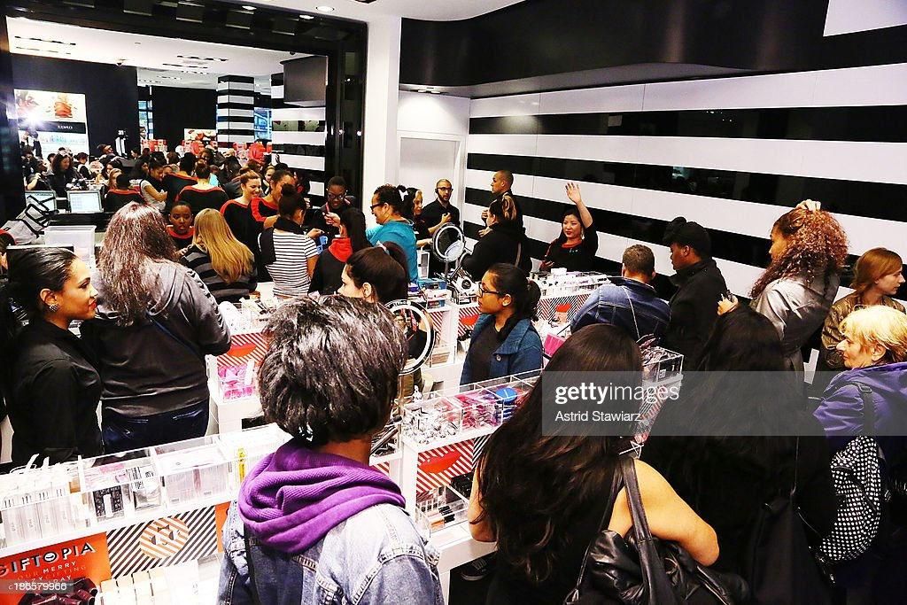 Customers attend the Sephora Brooklyn Grand Opening on November 1, 2013 in New York City.