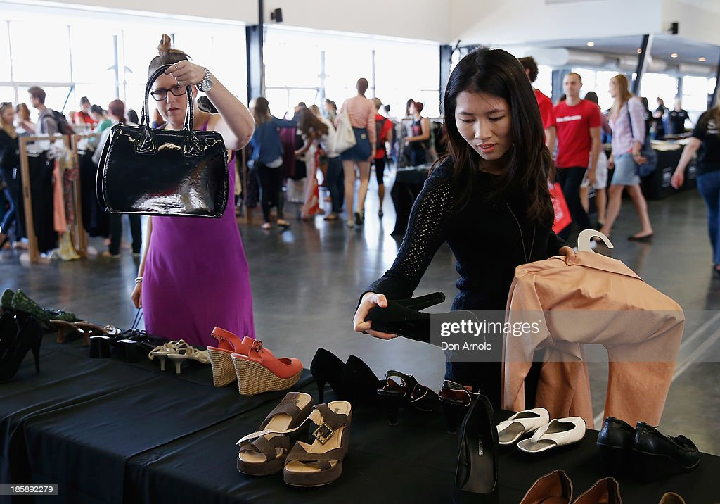 Customers check out the merchandise at the AHM Fashion Exchange at The Overseas Passenger Terminal on October 26, 2013 in Sydney, Australia.