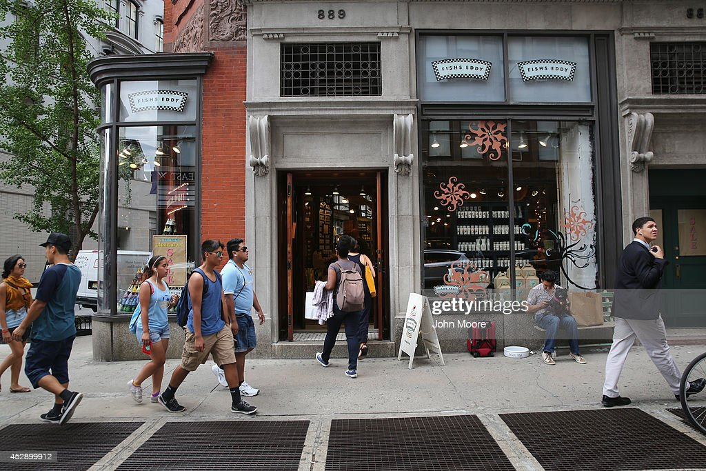 Customers enter Fishs Eddy, a well-known housewares store on Broadway and 19th St. in Manhattan on July 29, 2014 in New York City. The Port Authority of New York and New Jersey has accused the shop of 'unfairly reaping a benefit from an association with the Port Authority and the attack' of September 11. The Authority has asked the store to stop selling anything with these 'assets' on them, such as the Twin Towers, One World Trade Center and the Lincoln and Holland tunnels.
