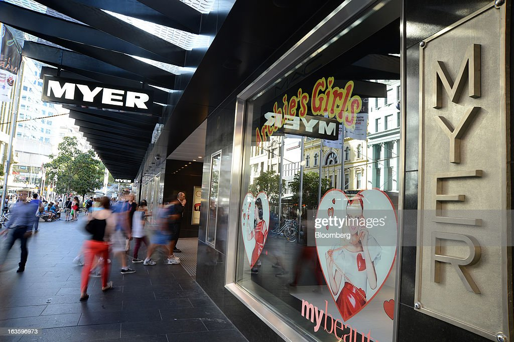 Customers enter Myer Holdings Ltd.'s Melbourne City store in Melbourne, Australia, on Wednesday, March 13, 2013. Myer is scheduled to release company results on March 14. Photographer: Carla Gottgens/Bloomberg via Getty Images