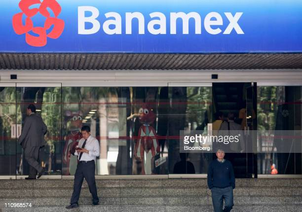 Customers exit a Citigroup Inc Banamex bank branch in Mexico City Mexico on Monday March 28 2011 The pension fund at Citigroup Inc's Banamex unit is...