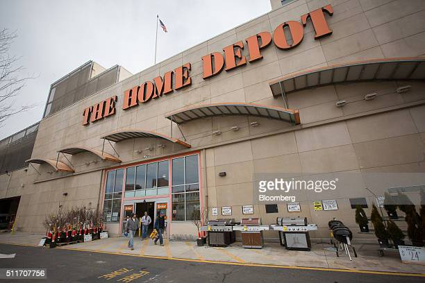 Customers exit a Home Depot Inc store in Jersey City New Jersey US on Saturday Feb 20 2016 Home Depot may exceed its 2015 forecast of 57% sales...