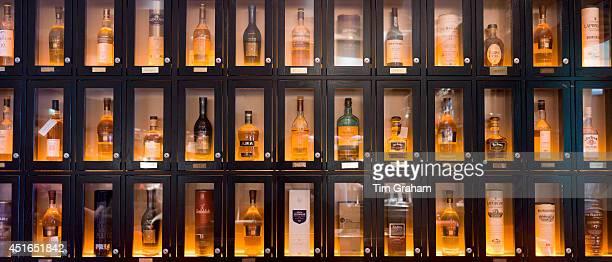 Customers' individual whisky lockers for Single malt Scotch whisky among them Glenmorangie Balvenie Laphroig Glengoyne Jura Ardbeg Glenfiddich in the...