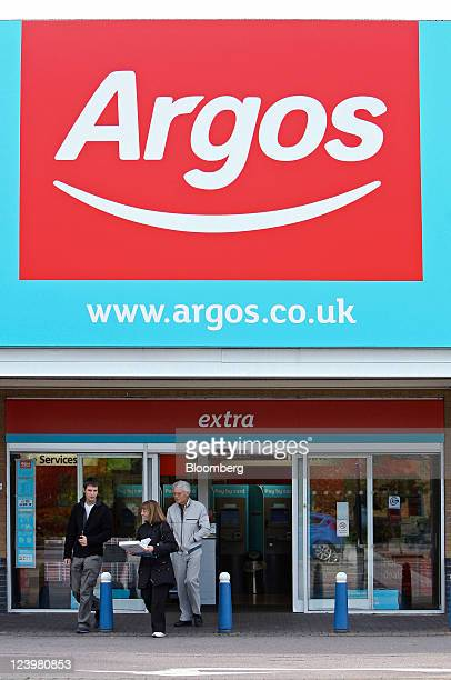 Customers leave an Argos store operated by Home Retail Group Plc in Enfield UK on Wednesday Sept 7 2011 Home Retail Group Plc owner of the UK catalog...
