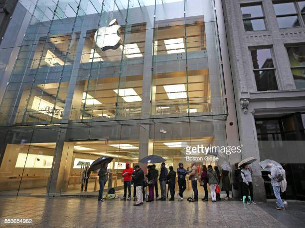 Customers line up at the Apple Store on Boylston Street in Boston ahead of the release of the iPhone 8 on Sep 22 2017