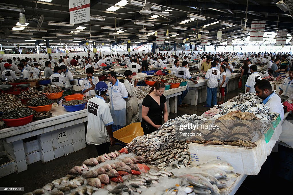 Customers look at fish that is on display at the Deira Fish Market on April 29, 2014 in Dubai, United Arab Emirates.