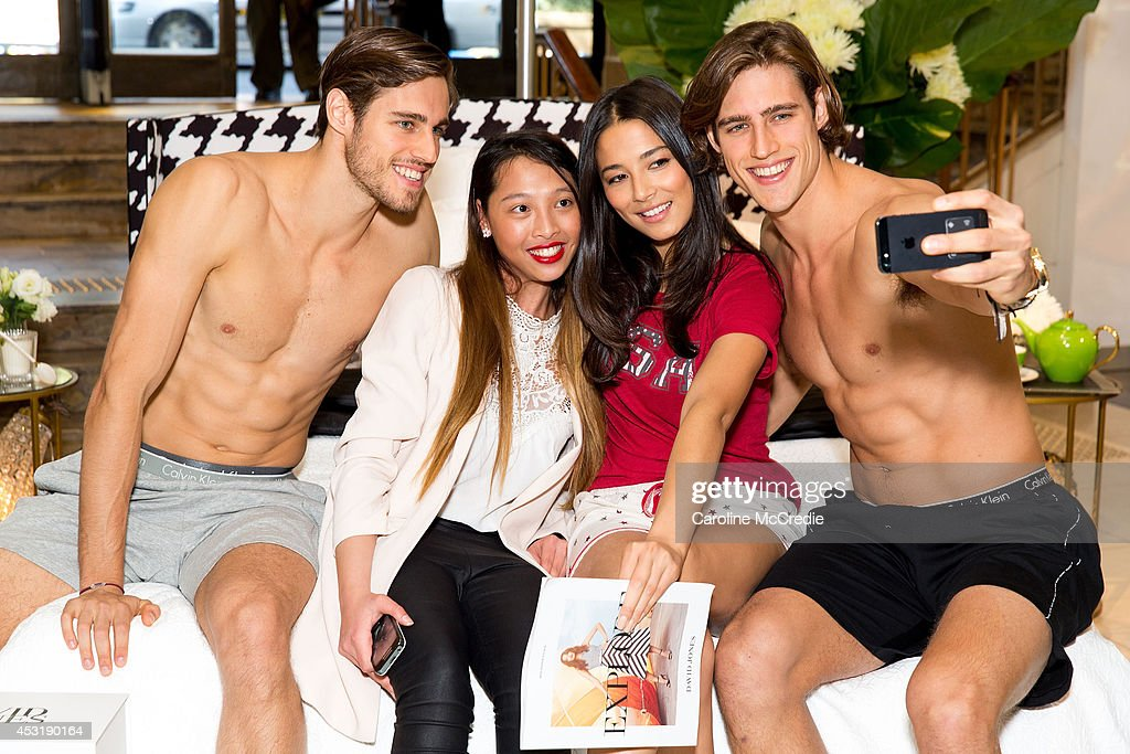 Customers of David Jones meet and greet Models <a gi-track='captionPersonalityLinkClicked' href=/galleries/search?phrase=Jordan+Stenmark&family=editorial&specificpeople=8682038 ng-click='$event.stopPropagation()'>Jordan Stenmark</a>, <a gi-track='captionPersonalityLinkClicked' href=/galleries/search?phrase=Zac+Stenmark&family=editorial&specificpeople=8682039 ng-click='$event.stopPropagation()'>Zac Stenmark</a> and <a gi-track='captionPersonalityLinkClicked' href=/galleries/search?phrase=Jessica+Gomes&family=editorial&specificpeople=4319063 ng-click='$event.stopPropagation()'>Jessica Gomes</a> at David Jones Elizabeth Street Store on August 5, 2014 in Sydney, Australia.