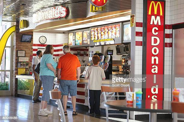 Customers order food at a McDonald's restaurant July 23 2008 in Schiller Park Illinois McDonald's Corp the world's largest restaurant chain today...