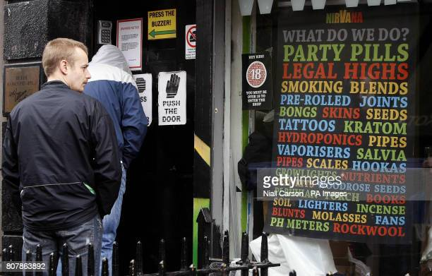 Customers outside the Nirvana Head Shop in Dublin as owners of controversial shops were warned tonight the lucrative trade in oncelegal highs was...