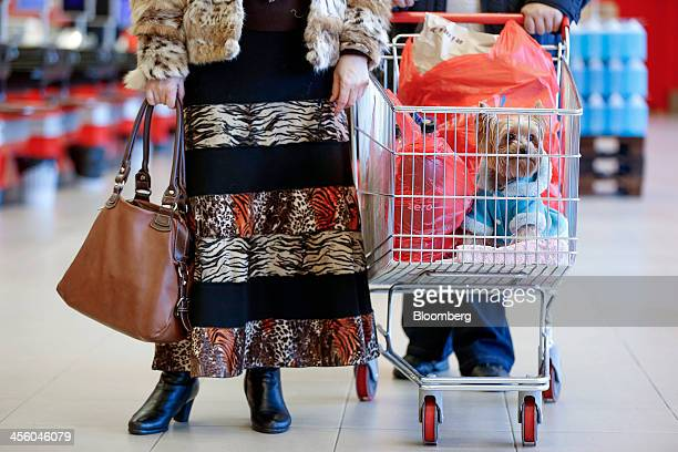 Customers push a shopping cart loaded with bags and a small dog dressed in a winter coat through a Rimi Baltic supermarket in Riga Latvia on Monday...