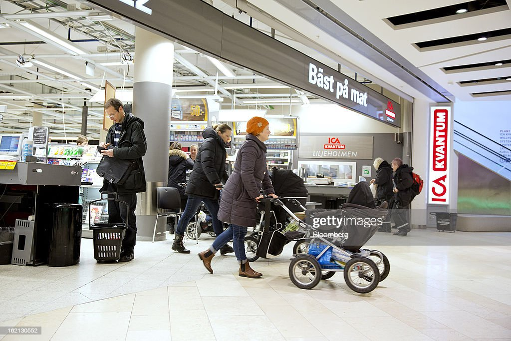Customers push baby buggies as they exit an ICA supermarket store in Stockholm, Sweden, on Tuesday, Feb. 19, 2013. Hakon Invest AB, the minority owner of Sweden's largest food retailer ICA, agreed to take full control by acquiring partner Royal Ahold NV's 60 percent stake for 20 billion kronor ($3.1 billion). Photographer: Casper Hedberg/Bloomberg via Getty Images