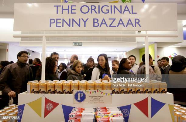 Customers queue for an exclusive range of MS products priced at just one penny to mark the store's 125th Birthday celebrations with the opening of...