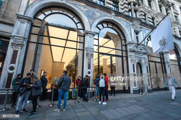 Customers queue outside Apple Regent Street ahead of the launch of the iPhone 8 on September 22 2017 in London England Apple have today launched...