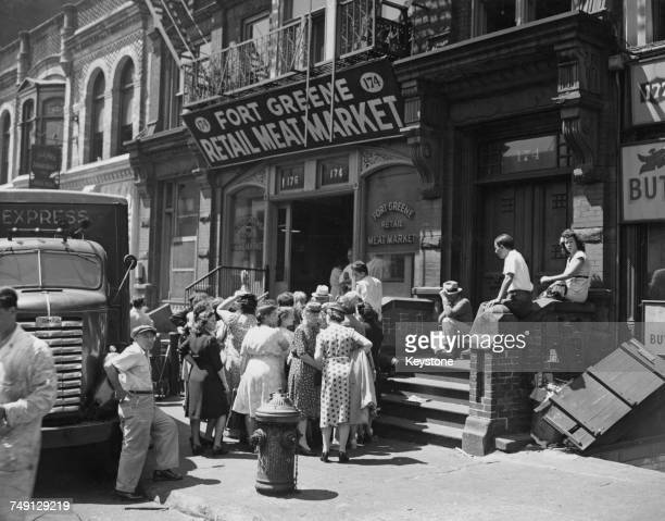Customers queuing outside Fort Greene Retail Meat Market on Fort Greene Place Brooklyn New York City 29th July 1946