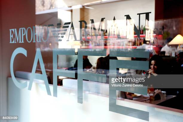 Customers relax in the Emporio Armani store cafe on December 19 2008 in Milan Italy It is anticipated that Victoria Beckham will accompany husband...