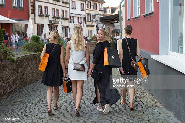 Customers seen shopping during the first anniversary celebrations of the City Outlet Bad Muenstereifel on August 7 2015 in Bad Muenstereifel Germany