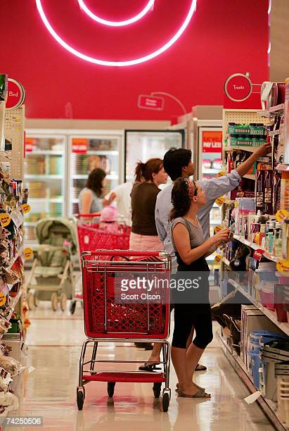 Customers shop at a Target store May 23 2007 in Chicago Illinois Today Target Corp reported an 18 per cent increase in their firstquarter profit...