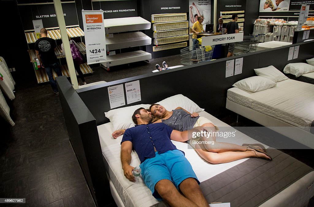 customers shop for beds at an ikea store in the brooklyn borough of new york us